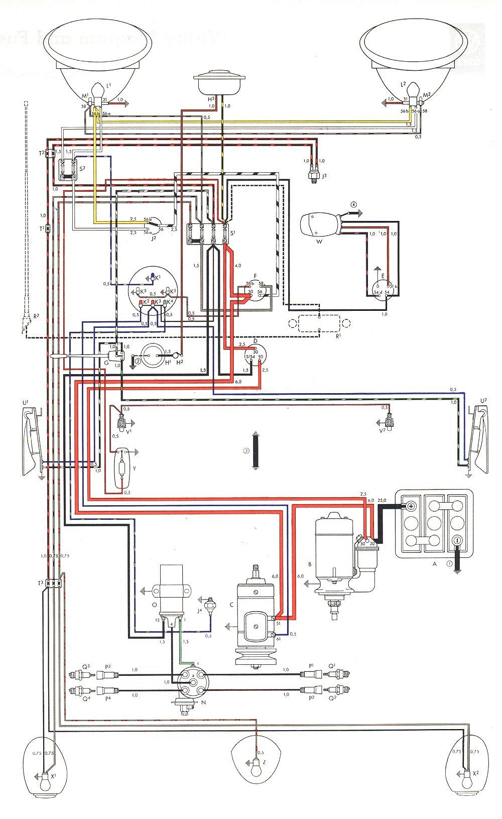 VW 58 59 72 vw beetle wiring diagram 2001 vw alternator wire diagram \u2022 free DIY Lingerie Harness at virtualis.co